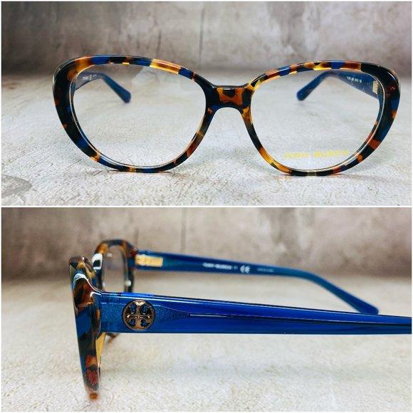 Tory Burch Oval Blue Tortoise Eyeglasses NWOT